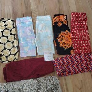 7 pair lot of Lularoe girls kids leggings  L / XL
